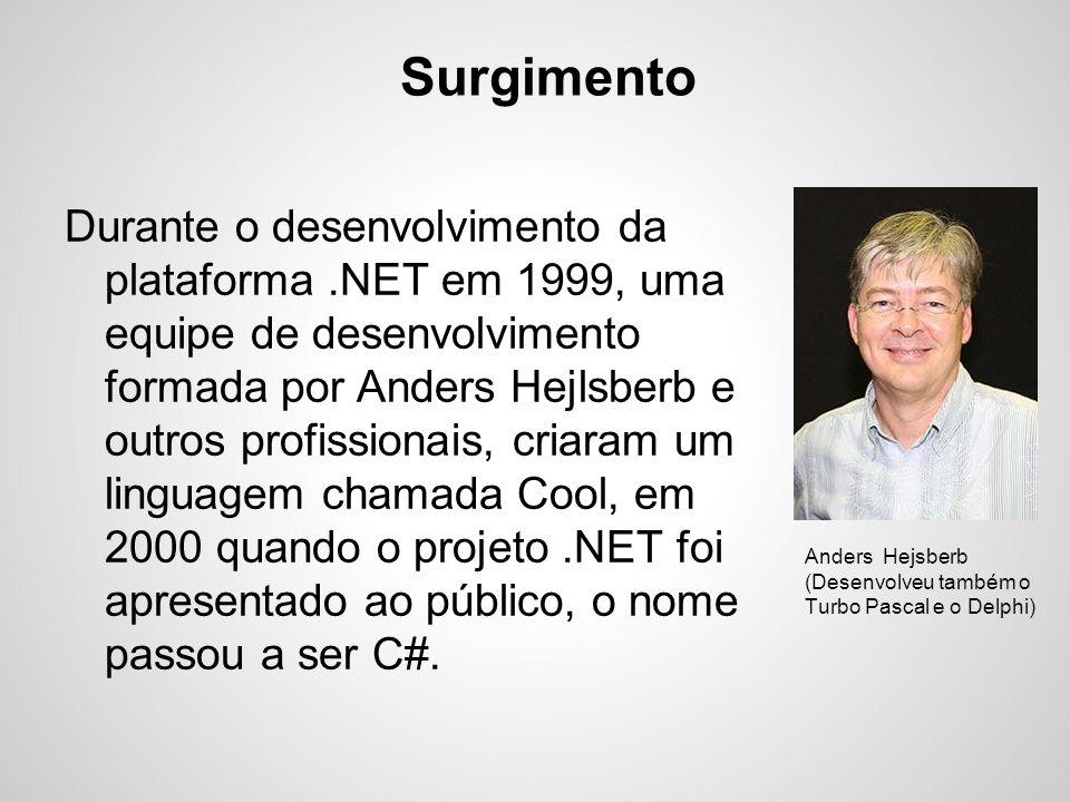Surgimento Durante o desenvolvimento da plataforma.NET em 1999, uma equipe de desenvolvimento formada por Anders Hejlsberb e outros profissionais, cri