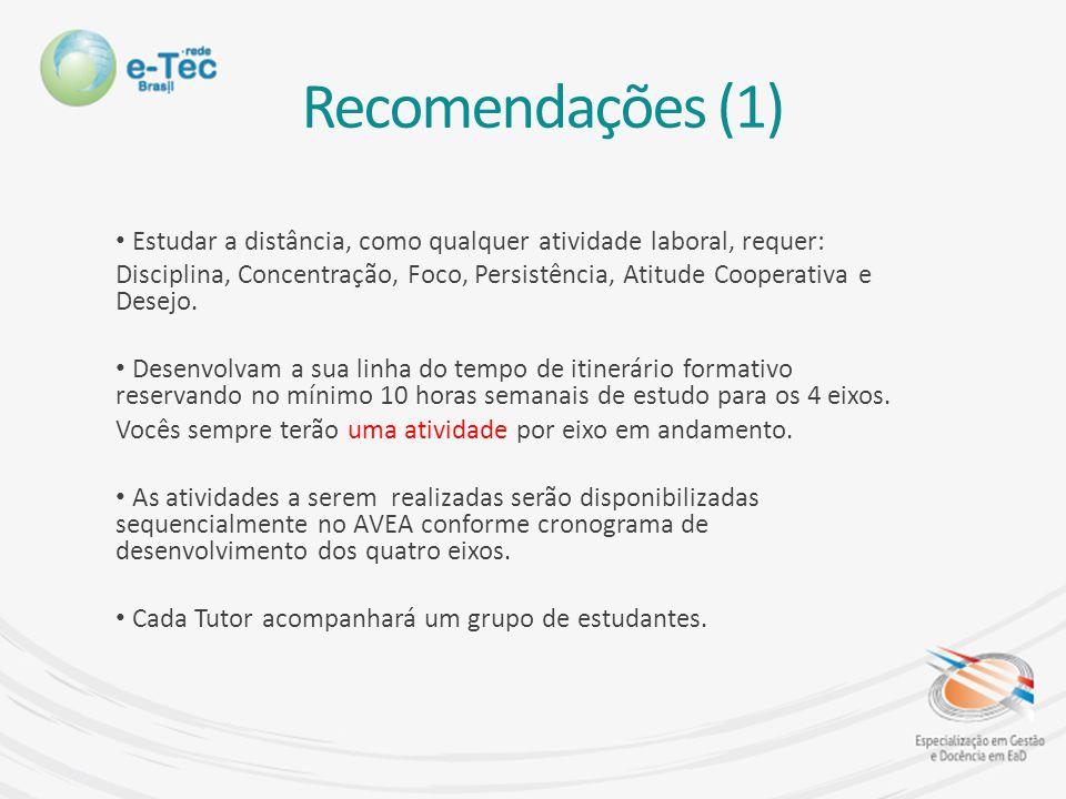 Recomendações (1) Estudar a distância, como qualquer atividade laboral, requer: Disciplina, Concentração, Foco, Persistência, Atitude Cooperativa e Desejo.