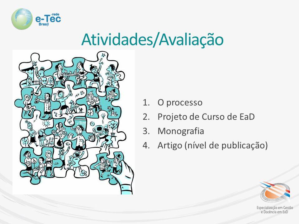 Atividades/Avaliação 1.O processo 2.Projeto de Curso de EaD 3.Monografia 4.Artigo (nível de publicação)