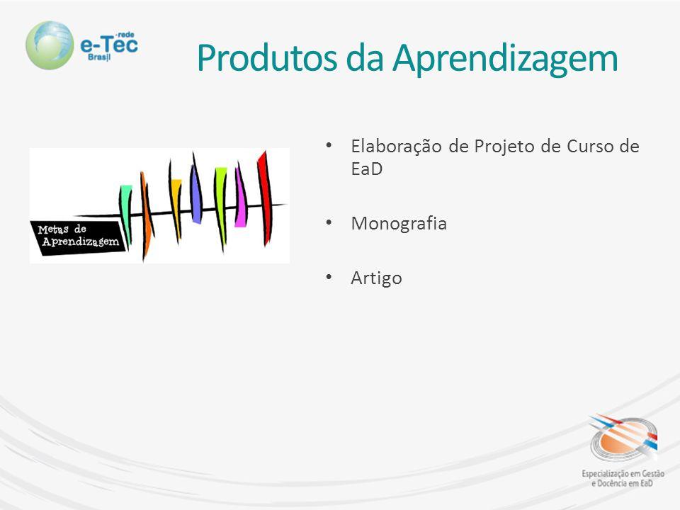 Produtos da Aprendizagem Elaboração de Projeto de Curso de EaD Monografia Artigo