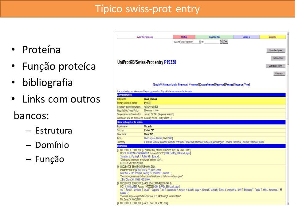 Típico swiss-prot entry Proteína Função proteíca bibliografia Links com outros bancos: – Estrutura – Domínio – Função