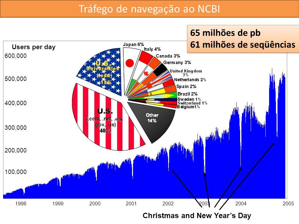 Users per day 300,000 200,000 100,000 400,000 1998 1999 2000 2001 200220032004 500,000 600,000 2005 Christmas and New Years Day Tráfego de navegação a