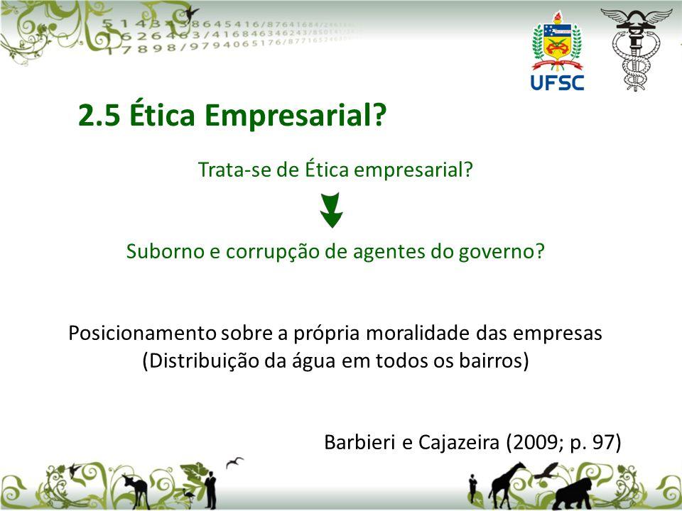 Trata-se de Ética empresarial.Suborno e corrupção de agentes do governo.