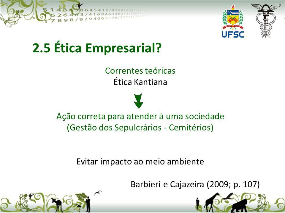 Correntes teóricas Ética Kantiana Ação correta para atender à uma sociedade (Gestão dos Sepulcrários - Cemitérios) Evitar impacto ao meio ambiente Barbieri e Cajazeira (2009; p.