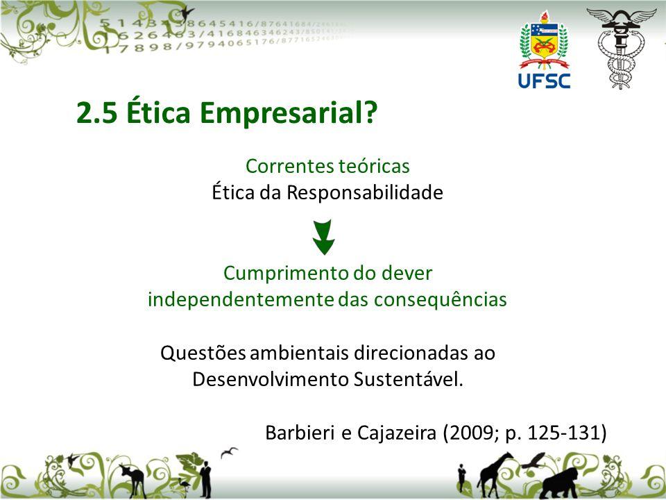 Correntes teóricas Ética da Responsabilidade Cumprimento do dever independentemente das consequências Questões ambientais direcionadas ao Desenvolvimento Sustentável.