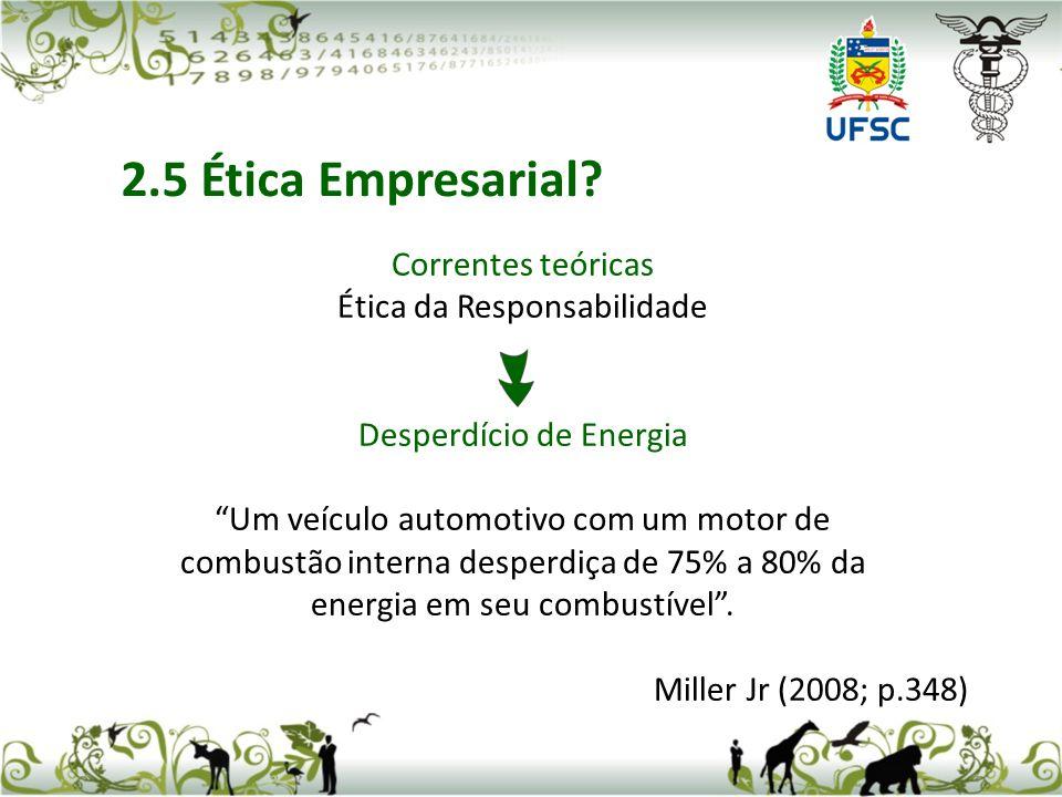 Correntes teóricas Ética da Responsabilidade Desperdício de Energia Um veículo automotivo com um motor de combustão interna desperdiça de 75% a 80% da energia em seu combustível.