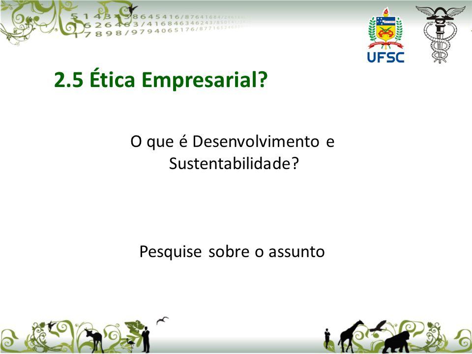 O que é Desenvolvimento e Sustentabilidade? Pesquise sobre o assunto 2.5 Ética Empresarial?