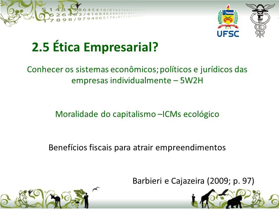 Conhecer os sistemas econômicos; políticos e jurídicos das empresas individualmente – 5W2H Moralidade do capitalismo –ICMs ecológico Benefícios fiscais para atrair empreendimentos Barbieri e Cajazeira (2009; p.