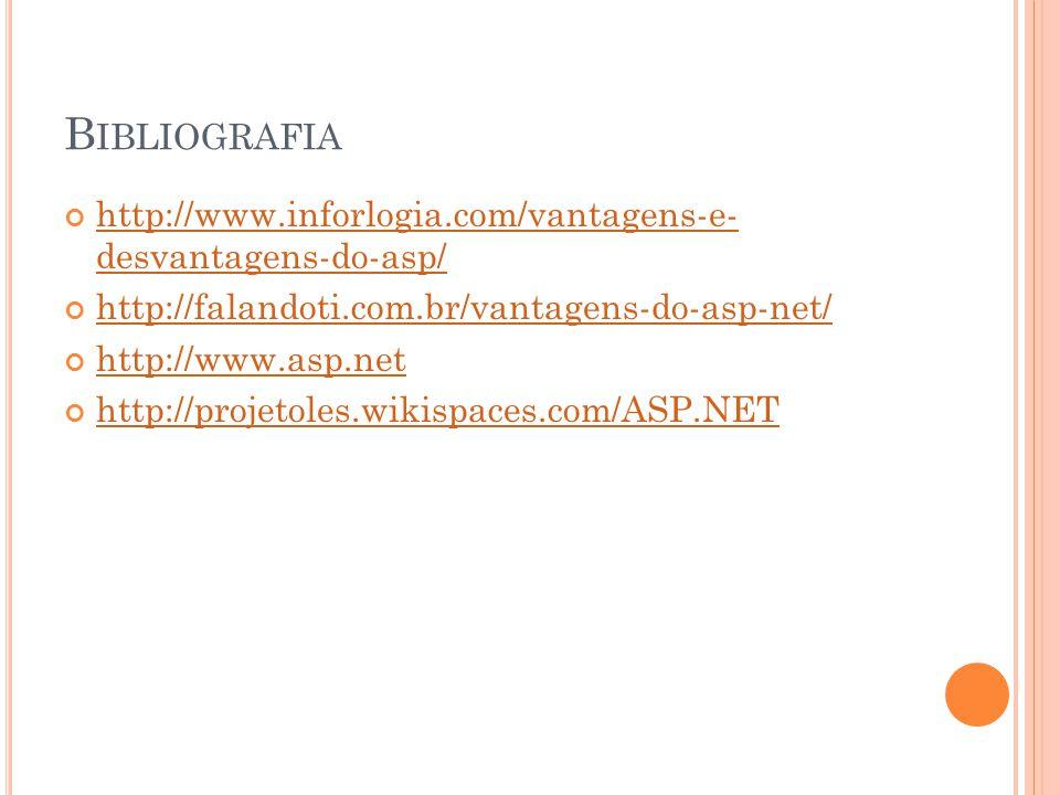 B IBLIOGRAFIA http://www.inforlogia.com/vantagens-e- desvantagens-do-asp/ http://www.inforlogia.com/vantagens-e- desvantagens-do-asp/ http://falandoti