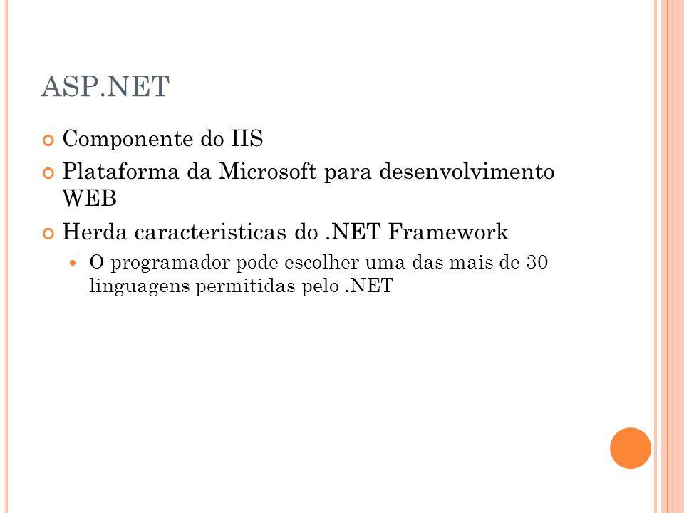 ASP.NET Componente do IIS Plataforma da Microsoft para desenvolvimento WEB Herda caracteristicas do.NET Framework O programador pode escolher uma das