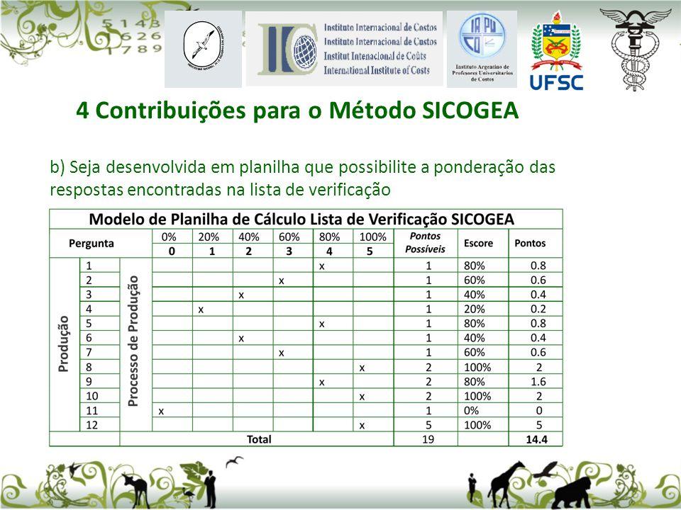 b) Seja desenvolvida em planilha que possibilite a ponderação das respostas encontradas na lista de verificação 4 Contribuições para o Método SICOGEA