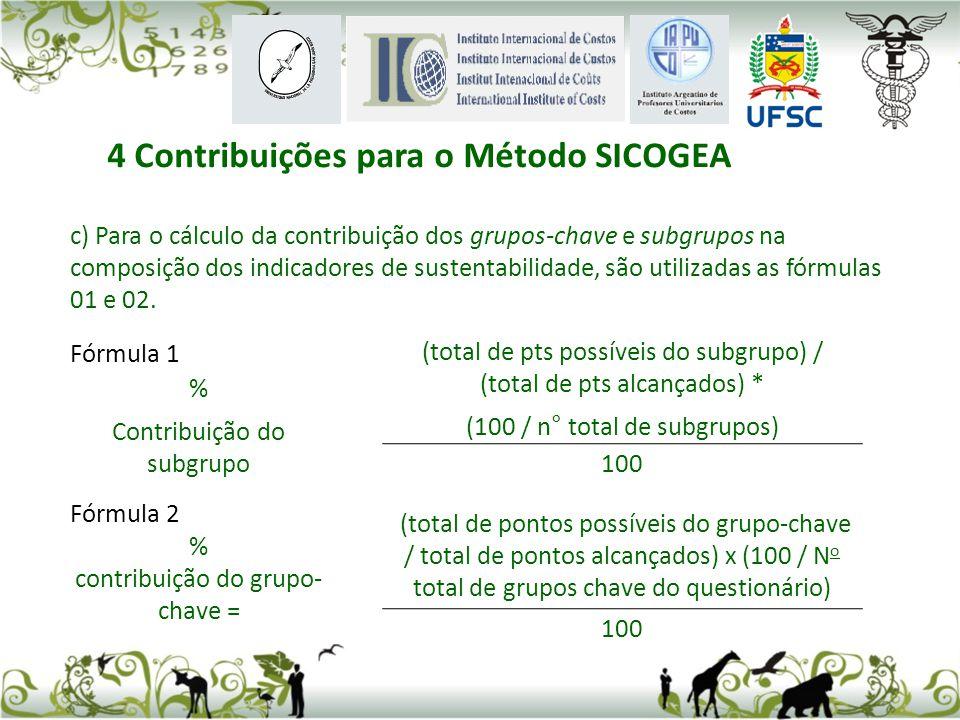 c) Para o cálculo da contribuição dos grupos-chave e subgrupos na composição dos indicadores de sustentabilidade, são utilizadas as fórmulas 01 e 02.
