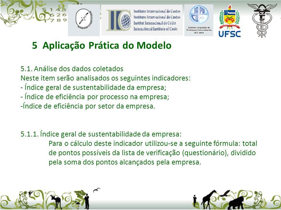 5.1. Análise dos dados coletados Neste item serão analisados os seguintes indicadores: - Índice geral de sustentabilidade da empresa; - Índice de efic