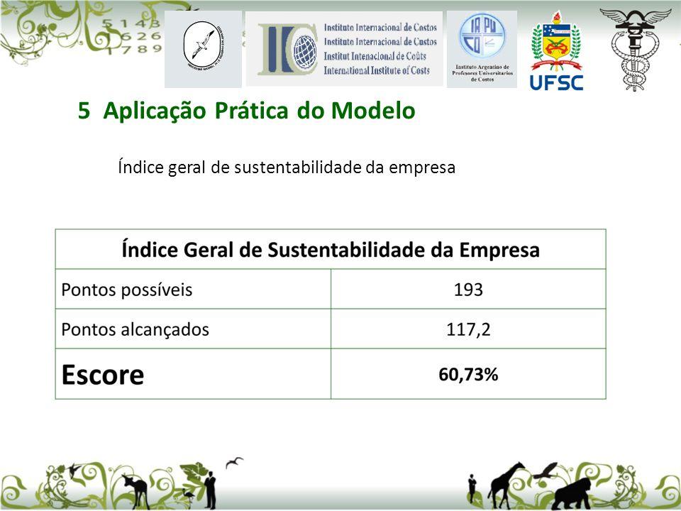 Índice geral de sustentabilidade da empresa 5 Aplicação Prática do Modelo