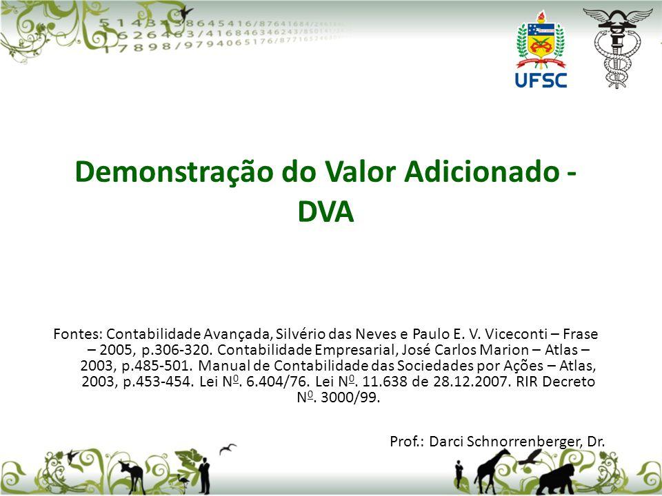 Demonstração do Valor Adicionado - DVA Fontes: Contabilidade Avançada, Silvério das Neves e Paulo E. V. Viceconti – Frase – 2005, p.306-320. Contabili