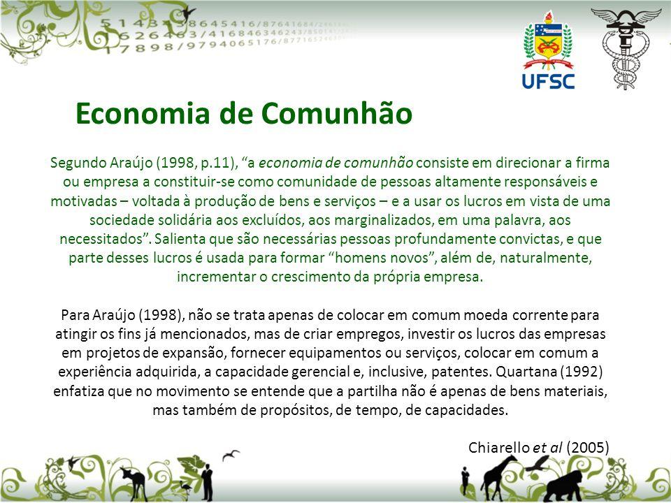 Segundo Araújo (1998, p.11), a economia de comunhão consiste em direcionar a firma ou empresa a constituir-se como comunidade de pessoas altamente res