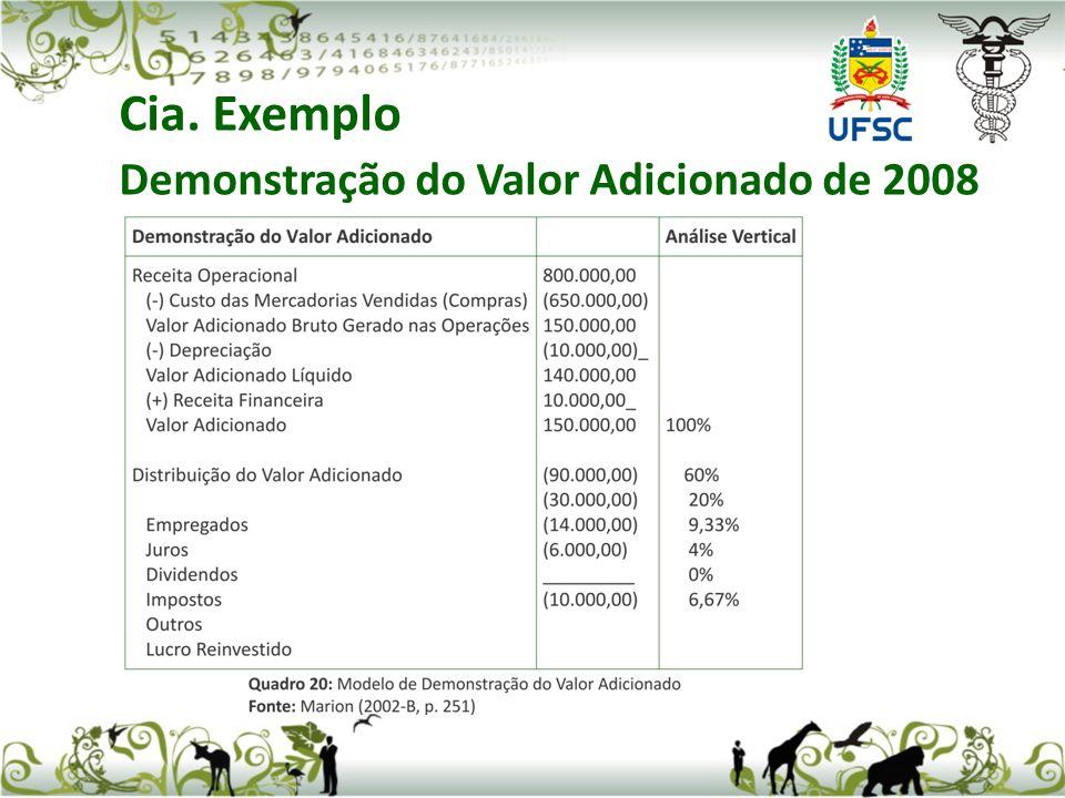 Cia. Exemplo Demonstração do Valor Adicionado de 2008