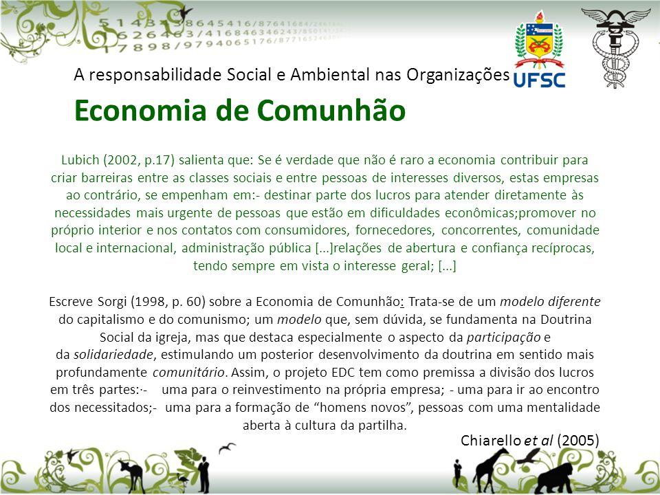 Chiarello et al (2005) A responsabilidade Social e Ambiental nas Organizações Economia de Comunhão