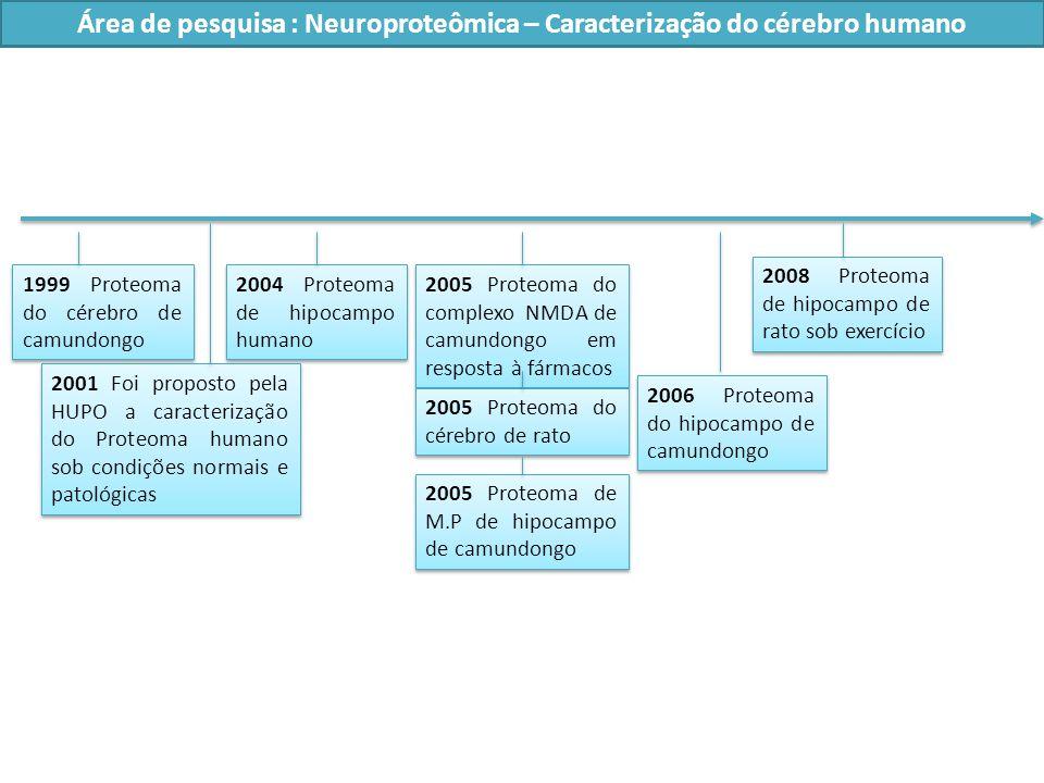 1999 Proteoma do cérebro de camundongo 2006 Proteoma do hipocampo de camundongo 2005 Proteoma do complexo NMDA de camundongo em resposta à fármacos 2005 Proteoma do cérebro de rato 2008 Proteoma de hipocampo de rato sob exercício 2004 Proteoma de hipocampo humano 2001 Foi proposto pela HUPO a caracterização do Proteoma humano sob condições normais e patológicas Área de pesquisa : Neuroproteômica – Caracterização do cérebro humano 2005 Proteoma de M.P de hipocampo de camundongo