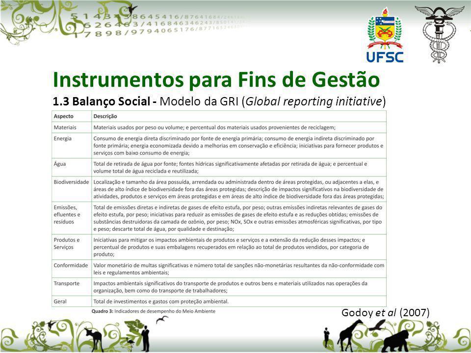 Godoy et al (2007) Instrumentos para Fins de Gestão 1.3 Balanço Social - Modelo da GRI (Global reporting initiative)