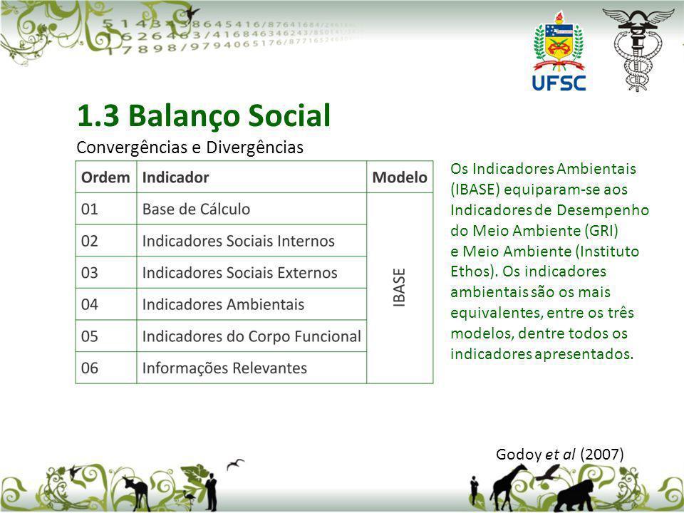 Godoy et al (2007) 1.3 Balanço Social Convergências e Divergências Os Indicadores Ambientais (IBASE) equiparam-se aos Indicadores de Desempenho do Mei