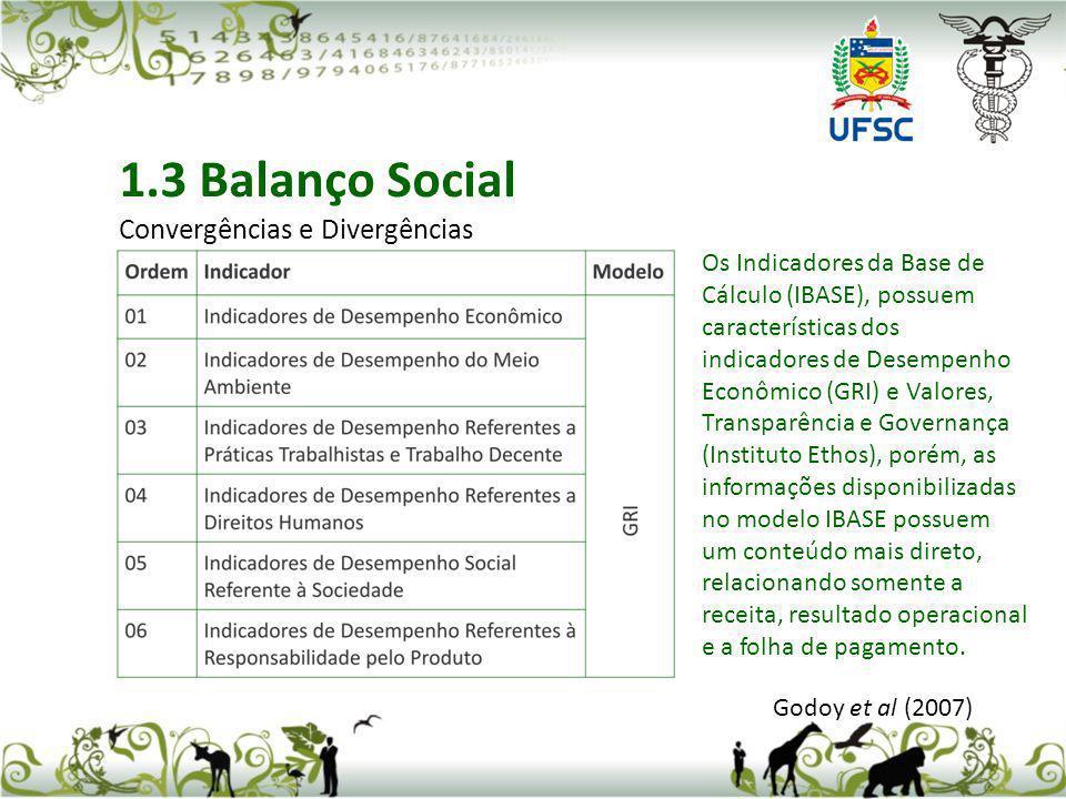 Godoy et al (2007) 1.3 Balanço Social Convergências e Divergências Os Indicadores da Base de Cálculo (IBASE), possuem características dos indicadores