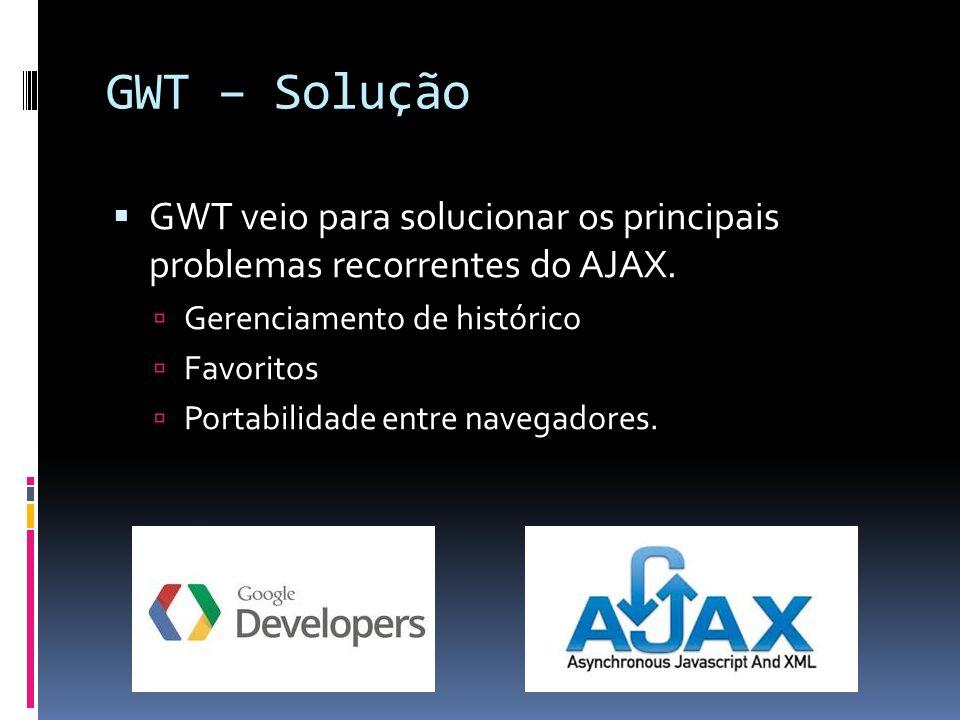 GWT – Solução GWT veio para solucionar os principais problemas recorrentes do AJAX. Gerenciamento de histórico Favoritos Portabilidade entre navegador