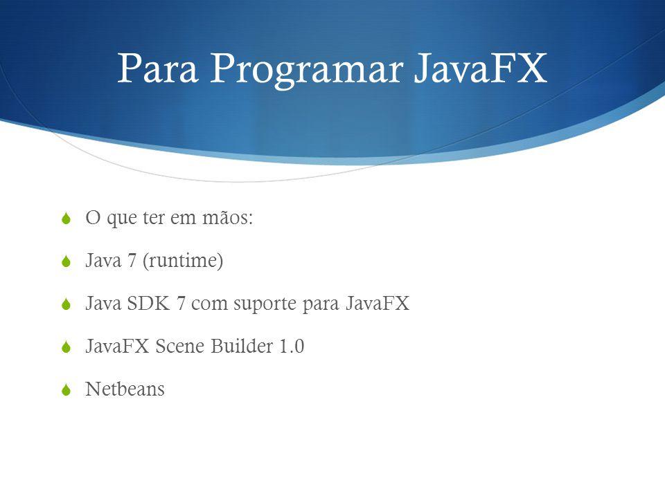 Para Programar JavaFX O que ter em mãos: Java 7 (runtime) Java SDK 7 com suporte para JavaFX JavaFX Scene Builder 1.0 Netbeans