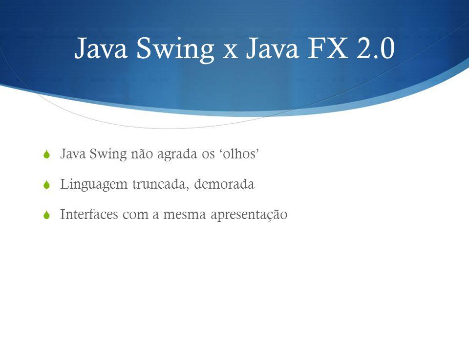 JAVA FX 2.0 Passou a ser escrito em linguagem Java nativa JavaFX Scene Builder, uma ferramenta de design visual da interface do usuário Empacotamento auto-suficiente de aplicativos com instaladores específicos da plataforma Run time do JavaFX é nativo ao Java 7 e JDK 7, contendo vasta API para sua utilização Suporte multi-toque Linguagem declarativa chamada FXML, usada para criação da interface baseada em XML Grande performance em ambientes gráficos Maior disponibilidade de componentes gráficos - Mais de 60 controles de interface e gráficos com estilo CSS.