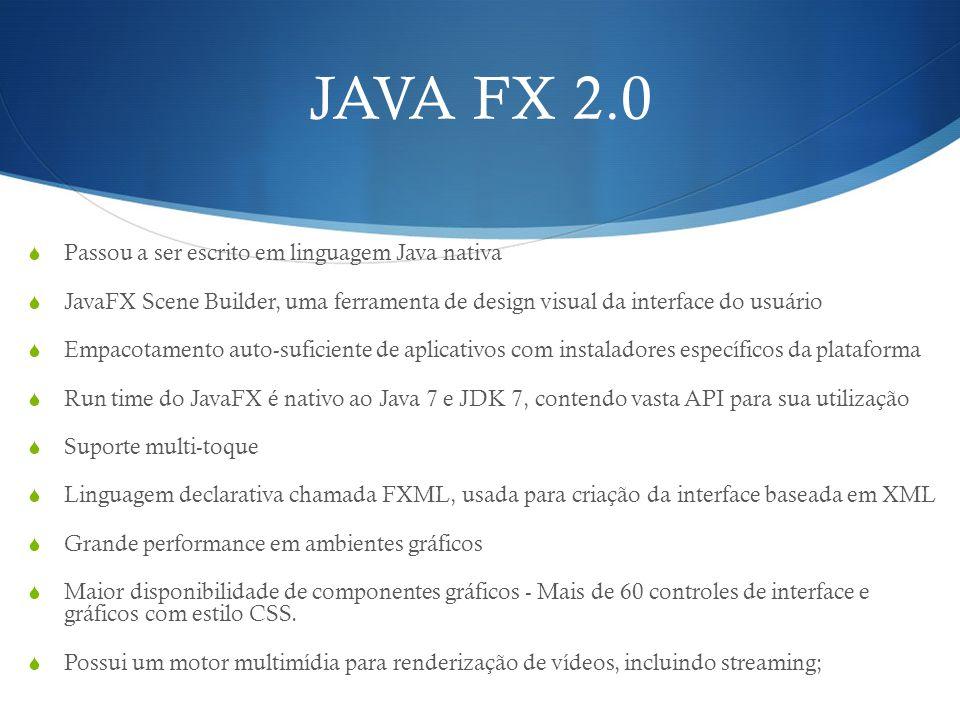 JAVA FX 2.0 Passou a ser escrito em linguagem Java nativa JavaFX Scene Builder, uma ferramenta de design visual da interface do usuário Empacotamento