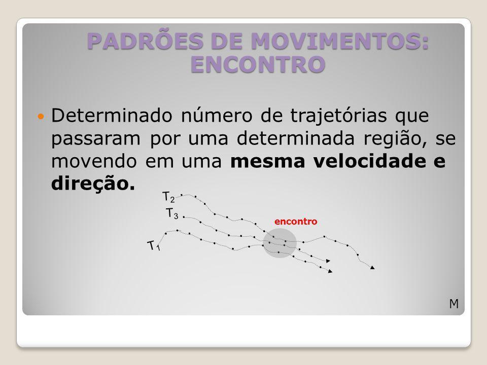 Determinado número de trajetórias que passaram por uma determinada região, se movendo em uma mesma velocidade e direção. PADRÕES DE MOVIMENTOS: ENCONT