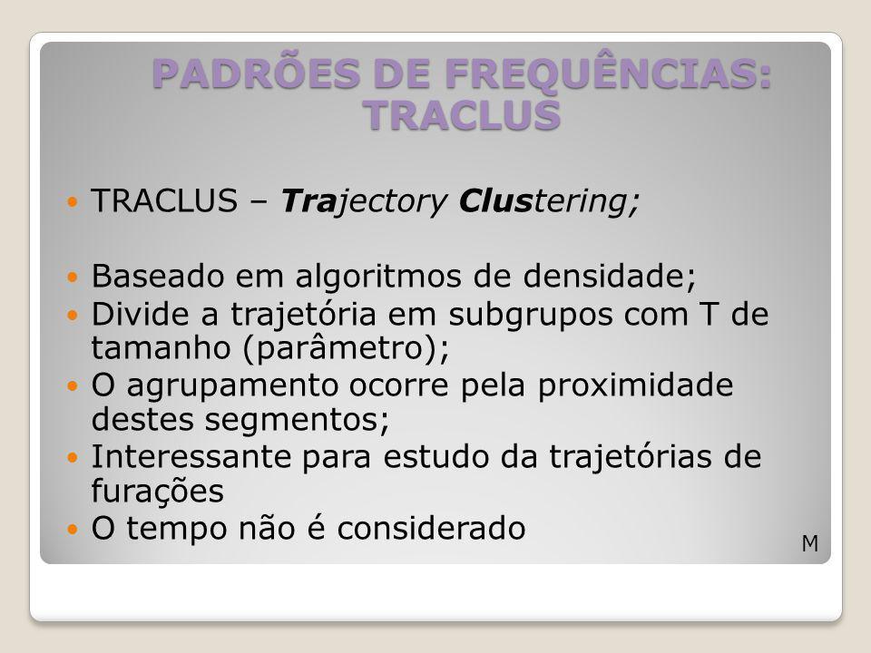 TRACLUS – Trajectory Clustering; Baseado em algoritmos de densidade; Divide a trajetória em subgrupos com T de tamanho (parâmetro); O agrupamento ocor