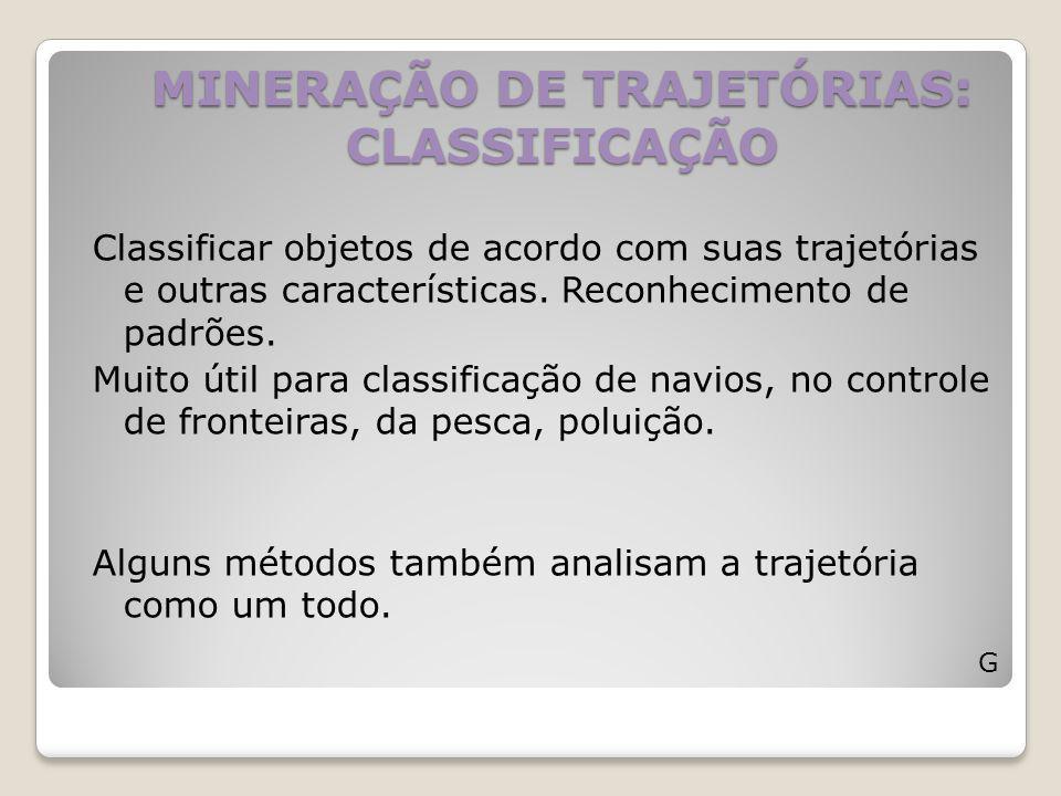 MINERAÇÃO DE TRAJETÓRIAS: CLASSIFICAÇÃO Classificar objetos de acordo com suas trajetórias e outras características. Reconhecimento de padrões. Muito
