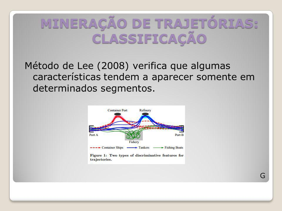 MINERAÇÃO DE TRAJETÓRIAS: CLASSIFICAÇÃO Método de Lee (2008) verifica que algumas características tendem a aparecer somente em determinados segmentos.