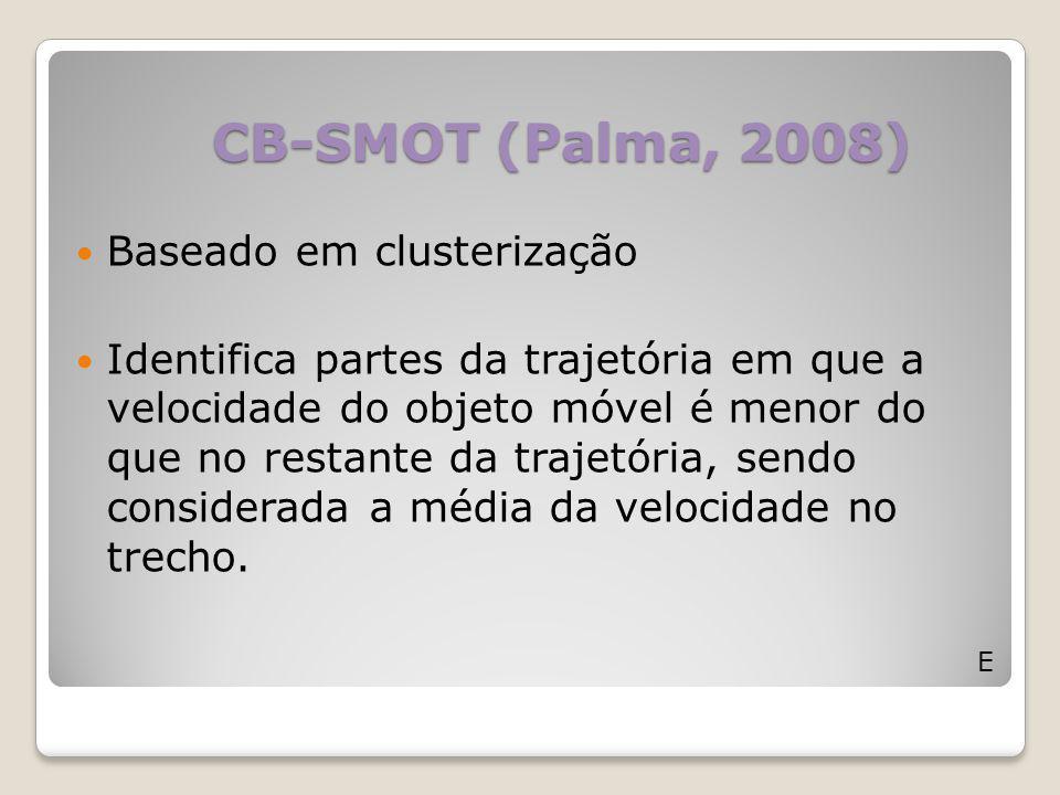 CB-SMOT (Palma, 2008) E Baseado em clusterização Identifica partes da trajetória em que a velocidade do objeto móvel é menor do que no restante da tra