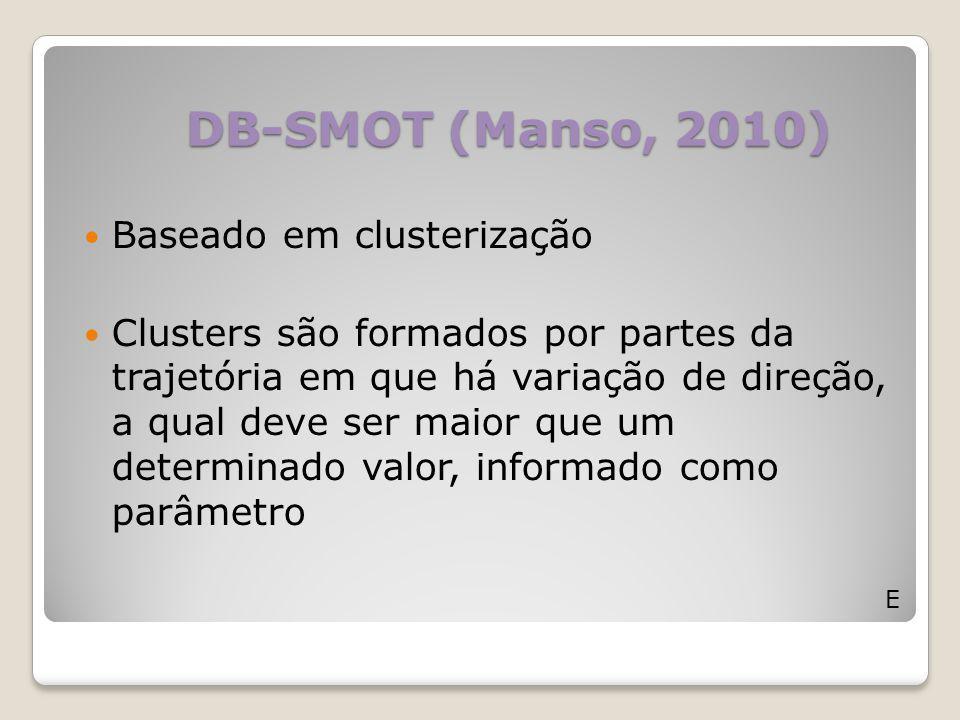 DB-SMOT (Manso, 2010) E Baseado em clusterização Clusters são formados por partes da trajetória em que há variação de direção, a qual deve ser maior q