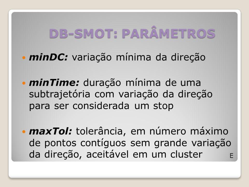 DB-SMOT: PARÂMETROS E minDC: variação mínima da direção minTime: duração mínima de uma subtrajetória com variação da direção para ser considerada um s