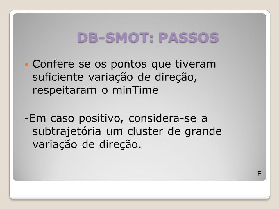 DB-SMOT: PASSOS E Confere se os pontos que tiveram suficiente variação de direção, respeitaram o minTime -Em caso positivo, considera-se a subtrajetór