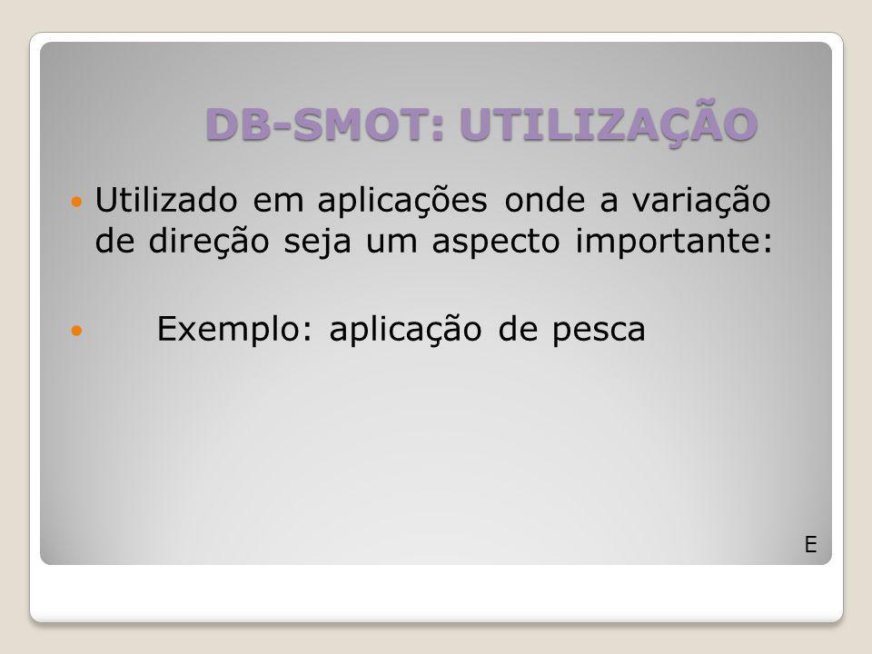 DB-SMOT: UTILIZAÇÃO E Utilizado em aplicações onde a variação de direção seja um aspecto importante: Exemplo: aplicação de pesca