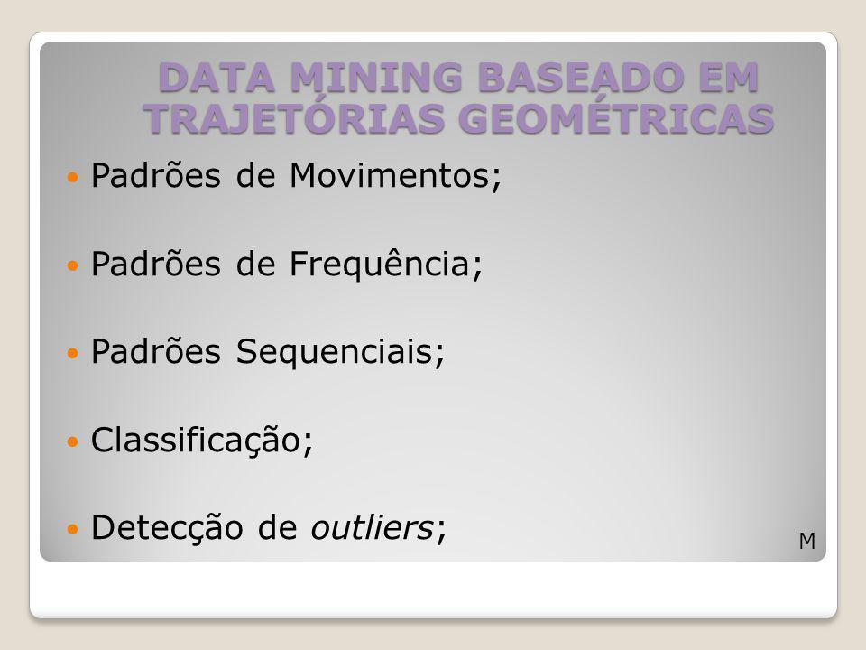 Padrões de Movimentos; Padrões de Frequência; Padrões Sequenciais; Classificação; Detecção de outliers; DATA MINING BASEADO EM TRAJETÓRIAS GEOMÉTRICAS