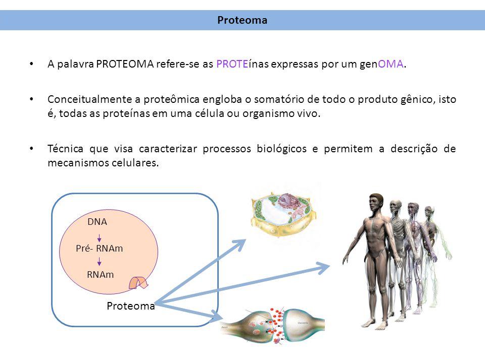 A palavra PROTEOMA refere-se as PROTEínas expressas por um genOMA. Conceitualmente a proteômica engloba o somatório de todo o produto gênico, isto é,