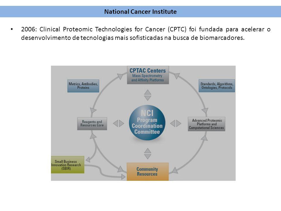 2006: Clinical Proteomic Technologies for Cancer (CPTC) foi fundada para acelerar o desenvolvimento de tecnologias mais sofisticadas na busca de bioma