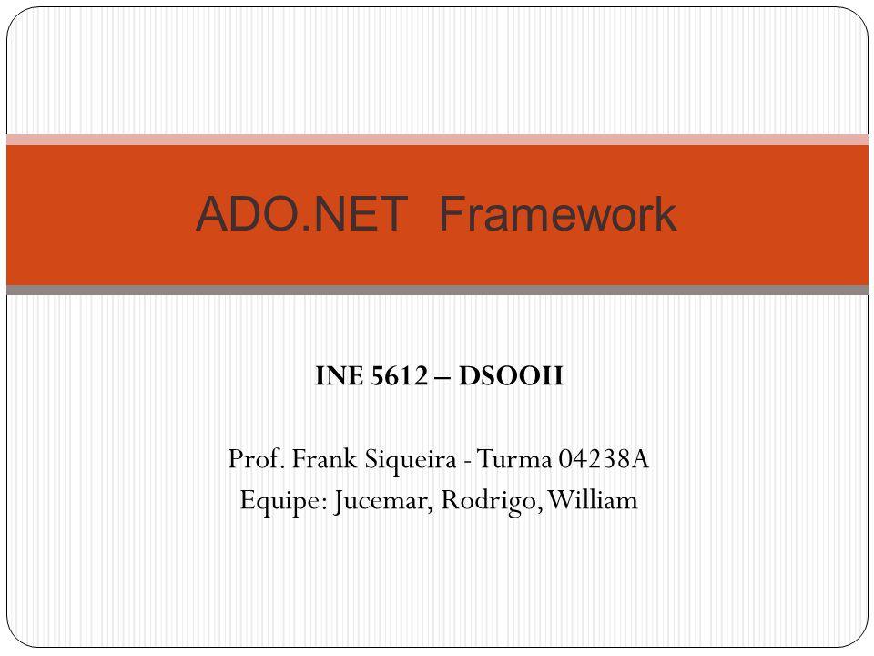 INE 5612 – DSOOII Prof. Frank Siqueira - Turma 04238A Equipe: Jucemar, Rodrigo, William ADO.NET Framework