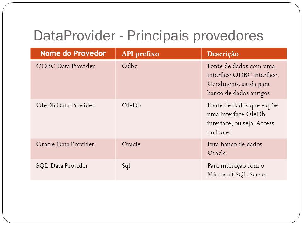 DataProvider - Principais provedores Nome do Provedor API prefixoDescrição ODBC Data ProviderOdbcFonte de dados com uma interface ODBC interface. Gera