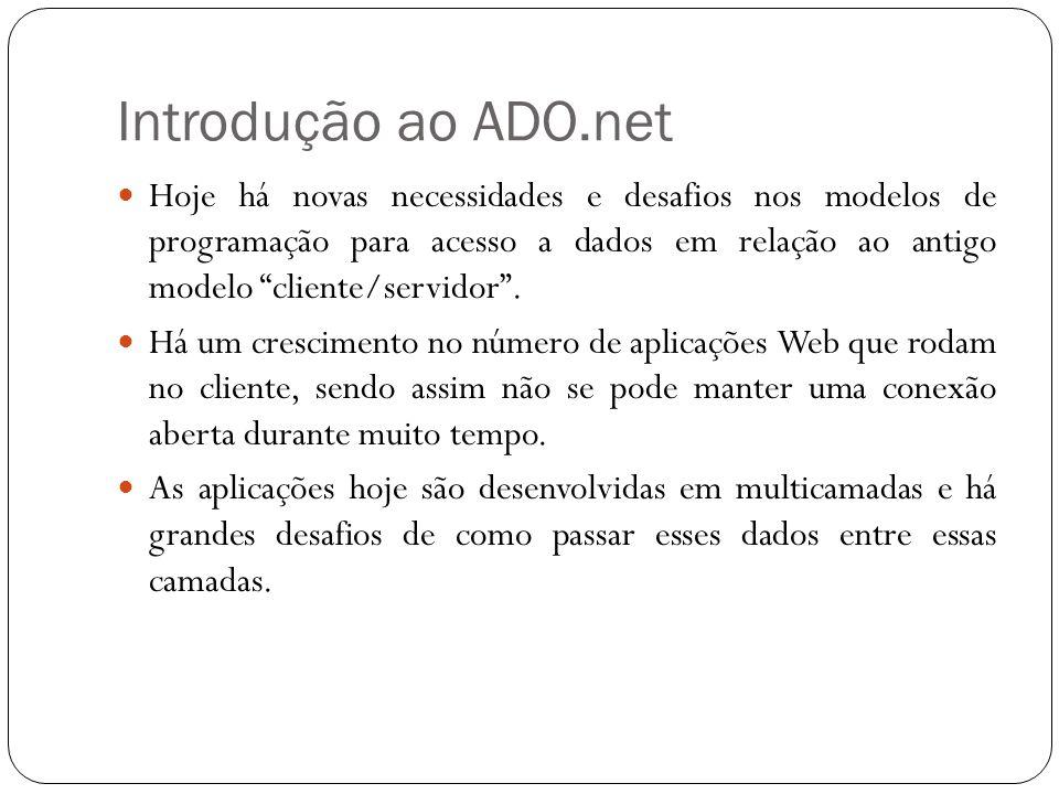 Introdução ao ADO.net Hoje há novas necessidades e desafios nos modelos de programação para acesso a dados em relação ao antigo modelo cliente/servido