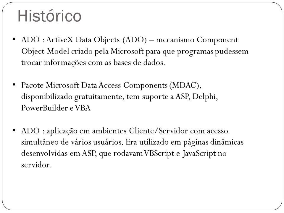 ADO : ActiveX Data Objects (ADO) – mecanismo Component Object Model criado pela Microsoft para que programas pudessem trocar informações com as bases