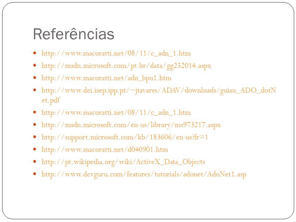 Referências http://www.macoratti.net/08/11/c_adn_1.htm http://msdn.microsoft.com/pt-br/data/gg252014.aspx http://www.macoratti.net/adn_bpu1.htm http:/