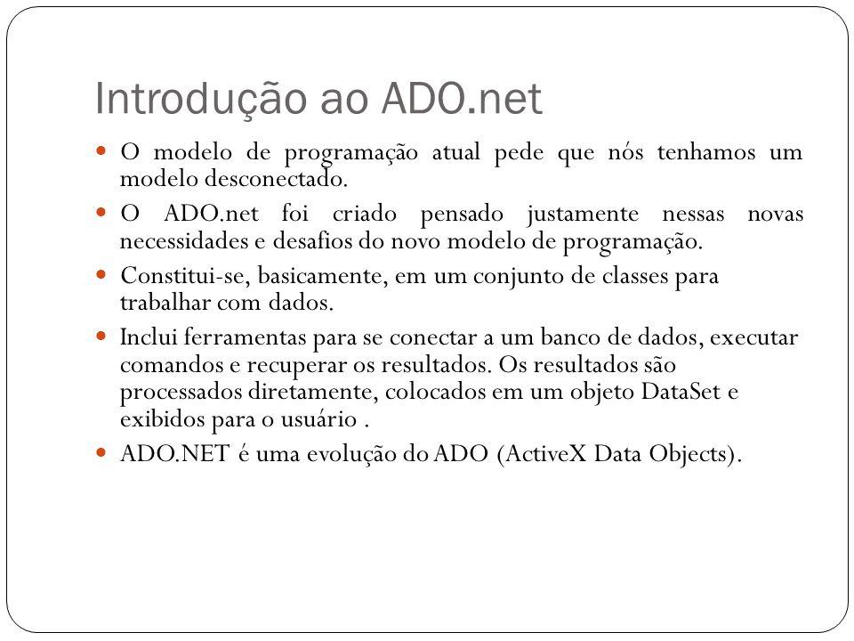 Introdução ao ADO.net O modelo de programação atual pede que nós tenhamos um modelo desconectado. O ADO.net foi criado pensado justamente nessas novas