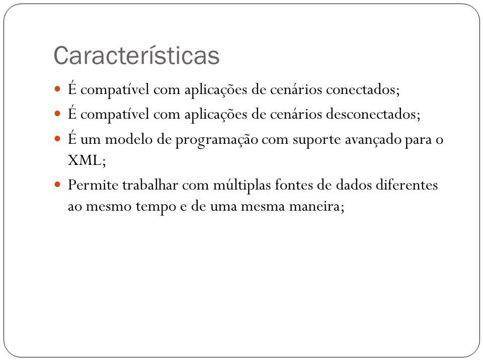 Características É compatível com aplicações de cenários conectados; É compatível com aplicações de cenários desconectados; É um modelo de programação