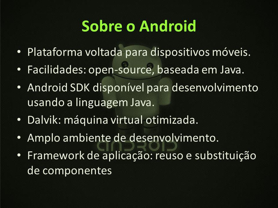 Sobre o Android Plataforma voltada para dispositivos móveis. Facilidades: open-source, baseada em Java. Android SDK disponível para desenvolvimento us